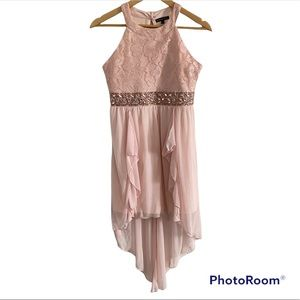 Girls pink formal party dress sequins 16